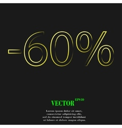 60 percent discount icon symbol Flat modern web vector image