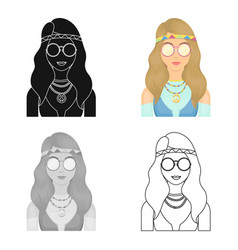 a hippie girl with glasses with beadshippy single vector image