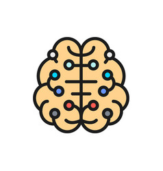 artificial intelligence brain connected vector image