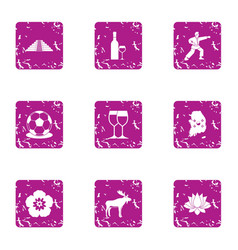 Asia time icons set grunge style vector