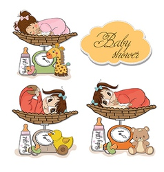 Baby girl on on weighing scale items set on white vector
