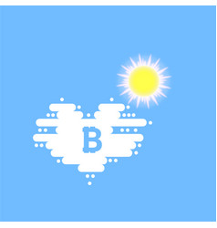bitcoin in cloud and sun in the shape of a heart vector image