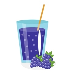 Blackberry juice in a glass fresh mulberry vector