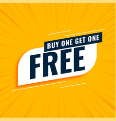Buy one get one free sale yellow background vector