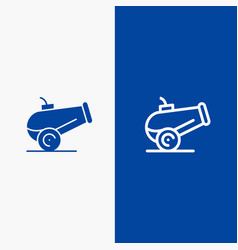Canon weapon line and glyph solid icon blue banner vector