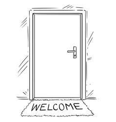Cartoon drawing of closed door with welcome text vector