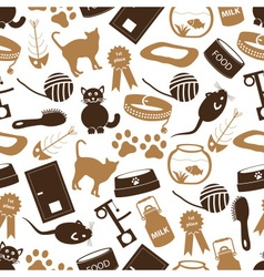 cats pets items simple icons seamless color vector image