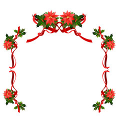christmas floral holiday frame vector image