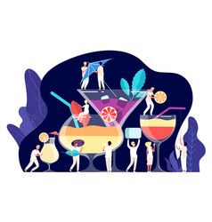 cocktail concept tiny people bartenders make vector image