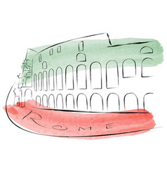 colosseum is painted in watercolors in vector image