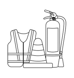 construction equipment and tools black and white vector image