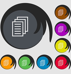 Copy file Duplicate document icon Symbols on eight vector