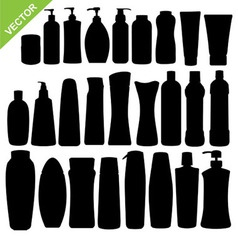 Cosmetics bottle silhouettes vector image
