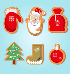 cute christmas gingerbread vector image