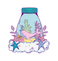 Cute narval in mason jar in clouds vector