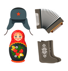 Doll and winter hat russian vector
