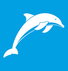 Dolphin icon white vector