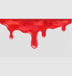 dripping strawberry jam realistic vector image