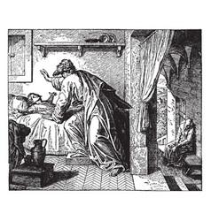 elijah raising the widows son vintage vector image