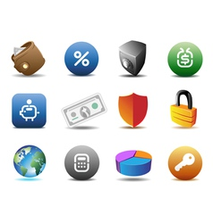 Finance and security icons vector