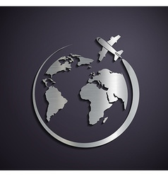 Flat metallic logo of the aircraft and the planet vector