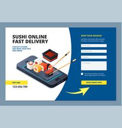 food landing sushi seafood online restaurant menu vector image