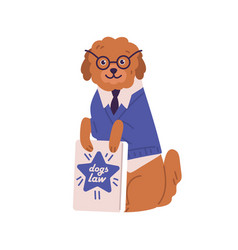 funny dog in glasses and suit holding book dogs vector image