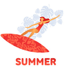 girl in a swimsuit on surfboard on the background vector image