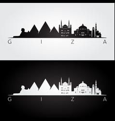 Giza skyline and landmarks silhouette vector