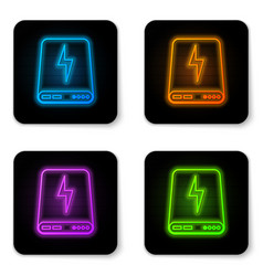 glowing neon power bank icon isolated on white vector image
