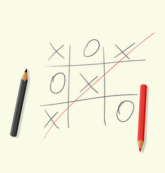 Hand drawing playing tic tac toe pencils vector