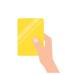 hand holding yellow football card vector image