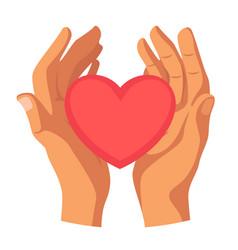 Hands holding heart flat vector
