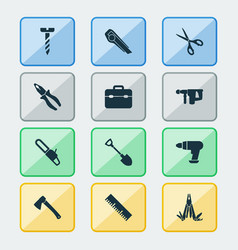 handtools icons set with bolt toolbox utility vector image