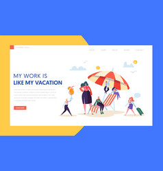 happy business characters vacation landing page vector image
