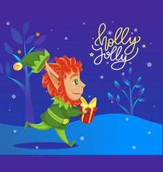 holly jolly and merry christmas elf with gift vector image