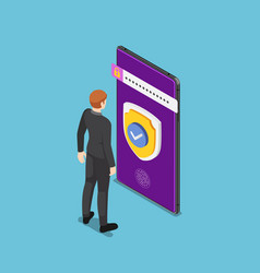 isometric businessman standing with shield vector image