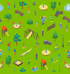 kid playground elements 3d seamless pattern vector image