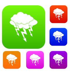 lightning bolt set color collection vector image