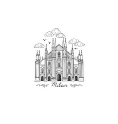 milan landmark symbol travel italy city icon vector image