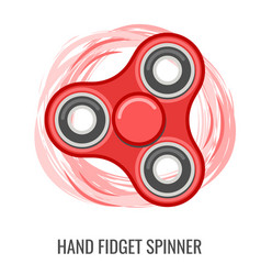 moving hand fidget spinner red yellow toy vector image