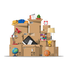 Moving to new house family relocated to new home vector