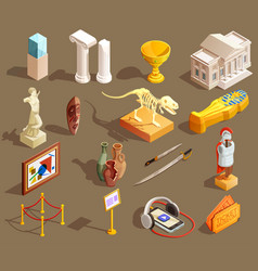 Museum artifacts isometric collection vector