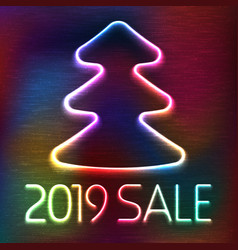 Neon glowing icon of christmas fir tree vector
