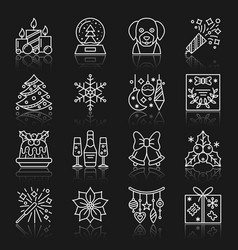 New year christmas thin line icon set vector