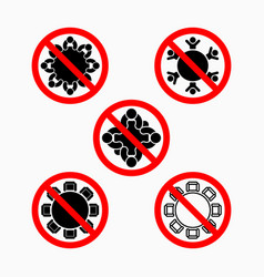 No meeting icon do not meeting prohibit icon set vector