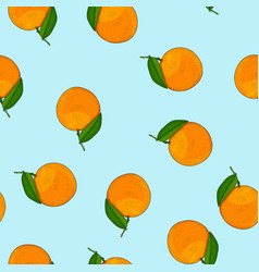 orange fruits on blue background seamless pattern vector image