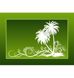 Palms Silhouettes and Floral Pattern vector image