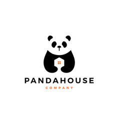 panda house logo icon vector image