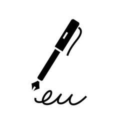 Pen signature black icon concept vector